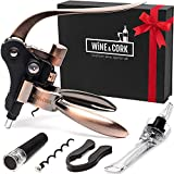 Wine Opener Set - Premium 2018 All-In-One Wine Bottle Opener Kit - Manual Rabbit Lever Wine Opener Corkscrew Set - Pop Bar Wine Opener Kit - Cute Wine Cork Remover Set for Women Men - eBook WineGuide