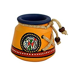 ExclusiveLane Terracotta Warli Handpainted/Unique Pen Stand/Holder Knitted Yellow