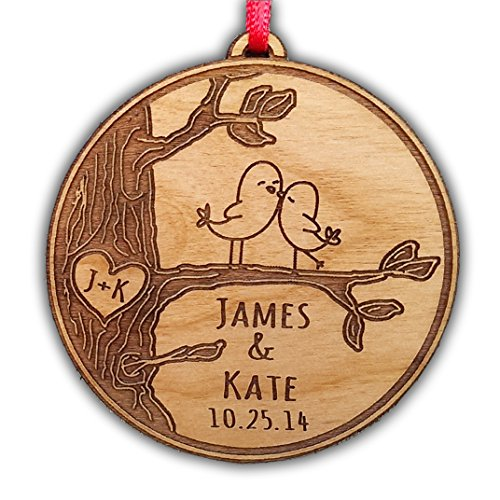 Newlywed Christmas Ornament Lovebirds Personalized Heart Tree Trunk Design Mr Mrs Wedding Date Name Engraved Couples Our First Christmas Gift for Him Her Engagement Holiday Together Wood Custom Christmas Personalized Couple's 1st