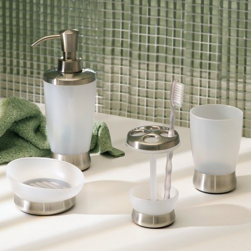 Interdesign lusso bath collection tumbler cup for for Clear bathroom accessories