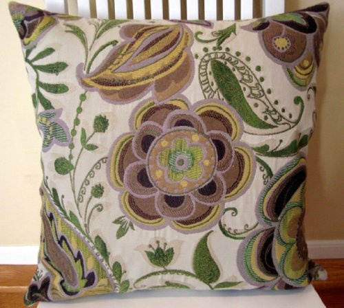 Purple Decorative Pillow Cover 20 X 20 Floral Throw Pillow In