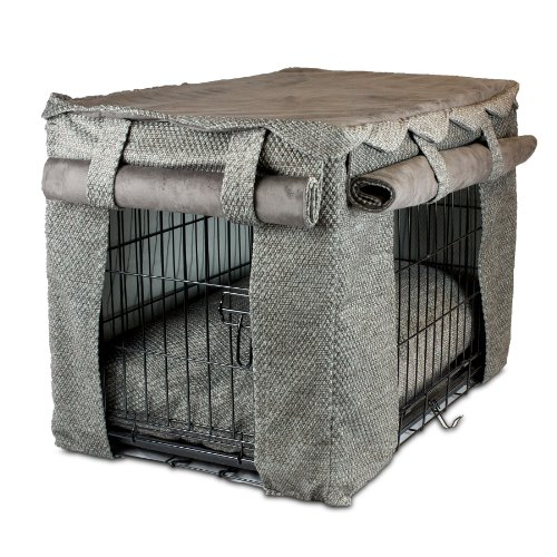 Snoozer Cabana Pet Crate Cover with Pillow Dog Bed, Medium, Shona Granite/Dark Chocolate