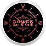 ncu17444-r GOWER Family Name Bar & Grill Cold Beer Neon Sign LED Wall Clock