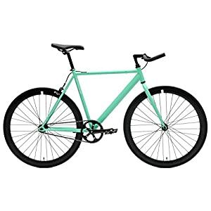 Critical Cycles Classic Fixed-Gear Single-Speed Bike with Pursuit Bullhorn Bars, 43cm/X-Small, Celeste