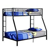 Metal Twin Over Full Double Bunk Bed, Black