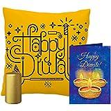 MySocialTab Diwali Gift Combo Of 12X12 Inches Cushion, Golden Pillar Candle And Diwali Wishing Greeting Card,DIWALIGIFTS872MST...