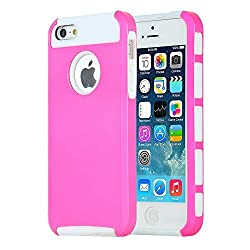 iPhone 5s Case, iPhone 5 Case, MTRONXTM Shockproof Heavy Duty Durable Hybrid Hard Soft TPU Armor Defender Case Cover Bumper For iPhone 5, iPhone 5s, iPhone SE - Hot Pink/White(HC-HPWH)