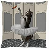 Cushion cover throw pillow case 18 inch retro vintage cat kitten tutu ballet skirt ballerina dance play butterfly funny kitty pet both sides image zipper by Pillow Cover