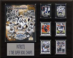 NFL 16 x 20 in. New England Patriots 3 Time Super Bowl Champs Champions Plaque by C&I Collectables