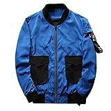 SemiAugust(セミオーガスト)メンズ 秋 アウトウェアジャケット 大きいポケット付き ミクスカラータイプ フィットネス 薄手 男性用 カラーはブルー サイズは4XL
