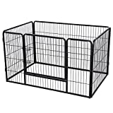 Songmics Welpenauslauf für Hunde Kaninchen und Andere Kleine Haustiere 122 x 80 x 70 cm schwarz PPK74H