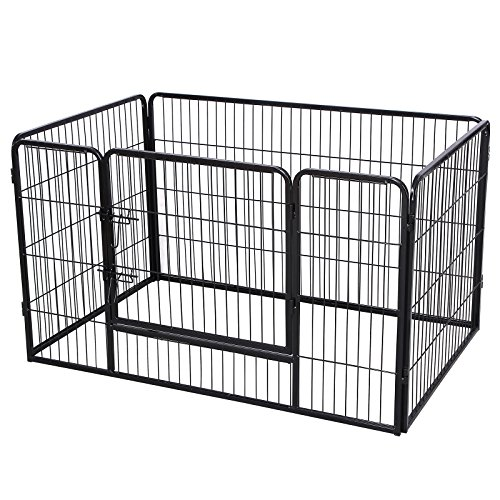 Songmics Recinzione Recinto per Cani Conigli Animali di Ferro nero 122 x 80 x 70 cm PPK74H