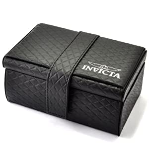 Invicta Black Quilted Leatherette Three-Watch Collectable Storage Box