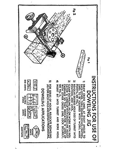 Craftsman No.9-4186 Dowel Jig Instructions PDF