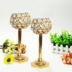 TiedRibbons diwali gifts Crystal tealight holder set Pack of 2(8 Inch X 3.5 Inch,Golden,Brass) with T-lights