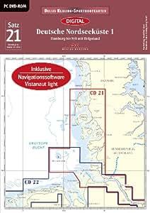 Sportbootkarten Satz 21:  Deutsche Nordseeküste 01 (2014): Hamburg mit Sylt bis Helgoland