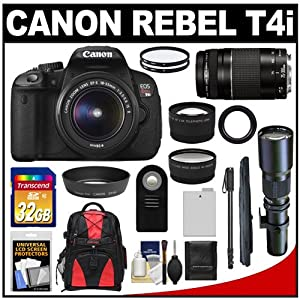 Canon EOS Rebel T4i Digital SLR Camera Body & EF-S 18-55mm IS II Lens + 75-300mm III & 500mm Telephoto Lens + 32GB Card + Monopod + Battery + Backpack + Filters + Remote + Telephoto & Wide-Angle Lenses + Accessory Kit