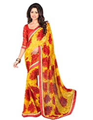 Indian Glorious Yellow Colored Printed Chiffon Saree By Triveni