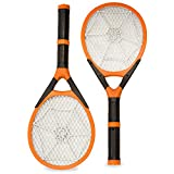 Two-pack Rechargeable Mosquito Wasp Bug Fly Zapper Electric Swatter with Detachable Flash Light