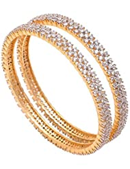 ESHOPITUDE INDIAN FESTIVAL BEAUTIFUL WOMEN DESIGN CZ AMERICAN DIAMOND GOLD PLATED BANGLES SET SIZE 2.6 (PACK OF... - B01J59IIQO