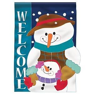 Winter Snowman Applique House Flag 2 Sided