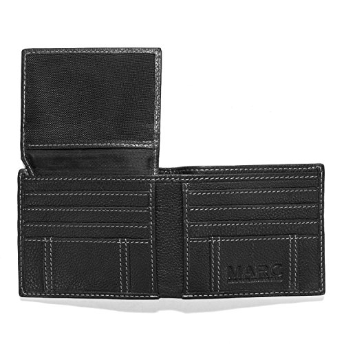 Marc New York Pebble Passcase Mens Leather Extra Capacity Bifold Wallet With Flip Pocket - Black (Stainless Steel Wallett compare prices)