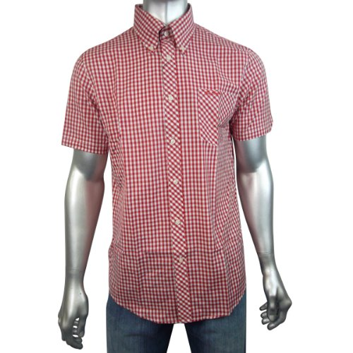Mens Red Ben Sherman Mod Skin Gingham Check Short Sleeve Wiltshire Shirt Size M
