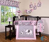 Boutique Pink Gray Elephant 13pcs Crib Bedding Sets thumbnail