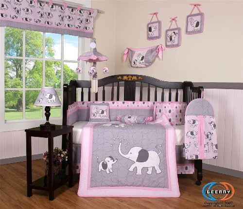 Boutique Pink Gray Elephant 13pcs Crib Bedding Sets image