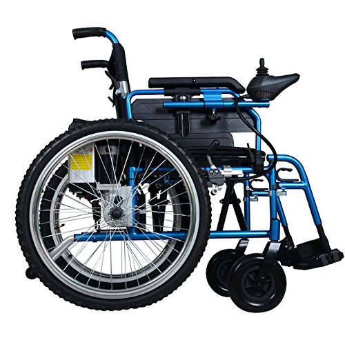 Lightweight Dual Function Foldable Power Wheelchair (Li-ion Battery), Drive with Power or use as Manual Wheelchair. (Electric Motorized Wheelchair)