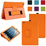 TKOOFN Premium Leather Cover Nubuck Fibre Interior, Folio Case & Stand with Elastic Hand Strap for Apple iPad Mini (1st Gen) + Screen Protector + Cleaning Cloth + Stylus, Orange - BHK6407