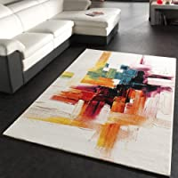Rug Modern Canvas Look Designer Carpet in Cream Colourful Brushed from PHC
