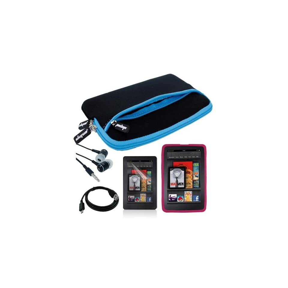 Black with Blue Trim Glove Case + Pink Silicone Skin Case + Clear Screen Protector + Headset and USB Cable for  Kindle Fire 7 Inch Tablet