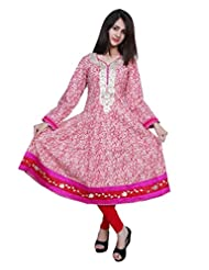 Port Pink Colour Kurti_BRIGHTFLOWERASSOR
