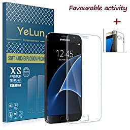 Galaxy S7 Screen Protector Glass (Full Screen Coverage),Tempered Glass Screen Protector - YELUN 9H Hardness Tempered Glass Bubble-free Arc Edge Design Screen Protector for Samsung Galaxy S7(Clear)