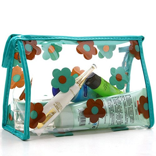 DAYAN Cosmetic Bag Sacchetto cosmetico donne portatili piccoli fiori trasparente Colore Verde & Coffee