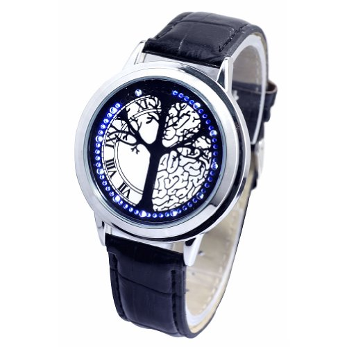 Sotijobs Unisex Blue Led Touch Screen Time Of Life Tree Casual Wrist Watch Black