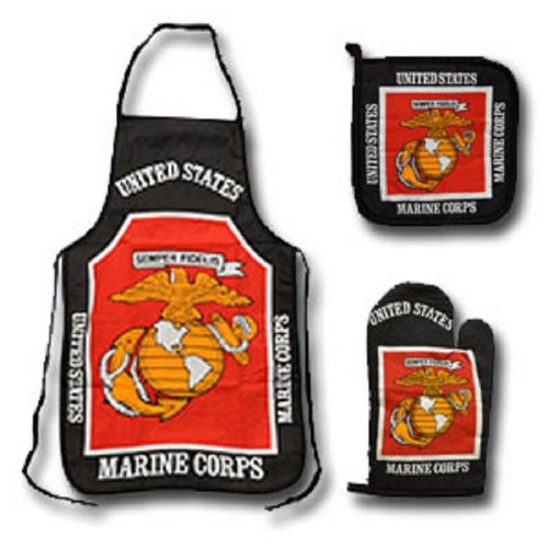 U.S.M.C. Marine Corps 3 Piece BBQ Cooking Chef Set