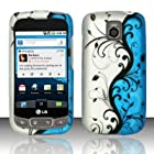 BLUE VINES Hard Rubber Feel Plastic Design Case for LG Phoenix P505/ Thrive P506 + Screen Protector [In Twisted Tech Retail Packaging]