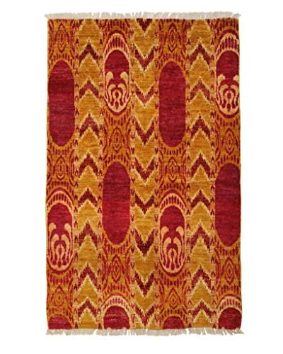Darya Rugs Ikat Oriental Rug, Red, 3′ 10″ x 6′ 2″