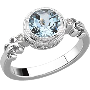 Genuine IceCarats Designer Jewelry Gift Sterling Silver Genuine Aquamarine And .02 Ct Tw Hi/I2 Diamond Ring. Size 7.00 Genuine Aquamarine And .02 Ct Tw Hi/I2 Diamond Ring In Sterling Silver Size 7.00
