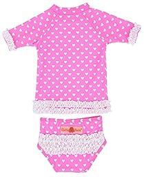 RuffleButts® Infant / Toddler Girls Hot Pink Heart Ruffled Rash Guard Bikini - Hot Pink - 18-24m
