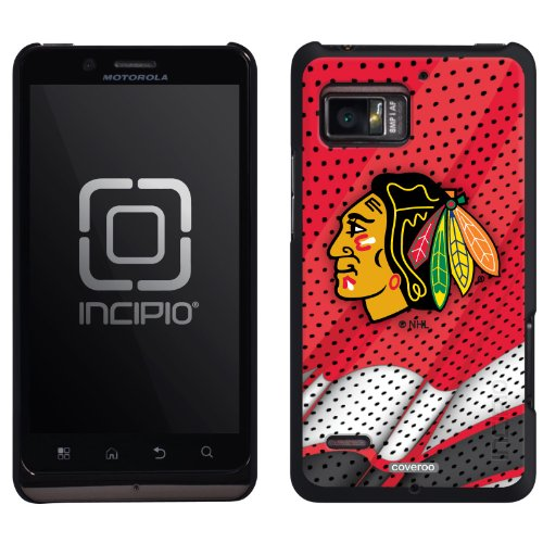 Chicago Blackhawks® - Home Jersey design on a Black Motorola Droid Bionic Feather Case by Incipio