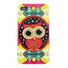 YW (TM) Glitter Gold Powder Shimmer Protective Hybrid Impact Armor Slim Defender TPU IMD Gel Soft Hard Case Cover For Apple iPhone 4 4S 4G with One Piece Random Color Stlye Dress up Sticker Gift - Owl on Colorful Wall