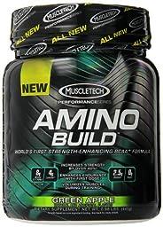 MuscleTech Amino Build Powder, Strength-Enhancing BCAA Formula, Green Apple, 0.98 lbs (445g)