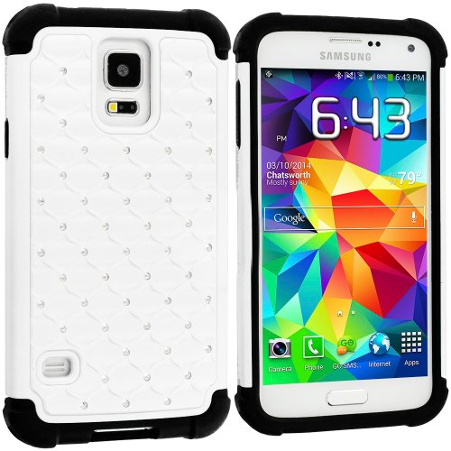 Mylife (Tm) Dark Black And White - Diamond Shell Series (2 Layer Neo Hybrid) Slim Armor Case For The New Galaxy S5 (5G) Smartphone By Samsung (External Rubberized Hard Shell Flex Piece + Internal Soft Silicone Flexible Bumper Gel)