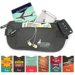 Money Belt For Travel with 1x Passport and 5x Credit Card Protector RFID Sleeves