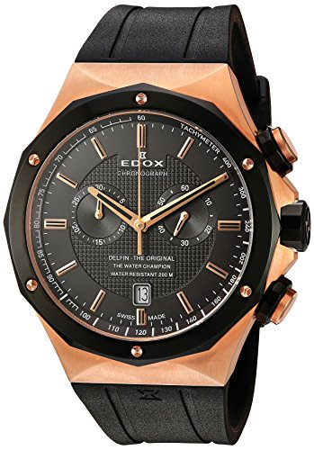 Edox-Mens-10107-37RNC-GIR-Delfin-Analog-Display-Swiss-Quartz-Black-Watch