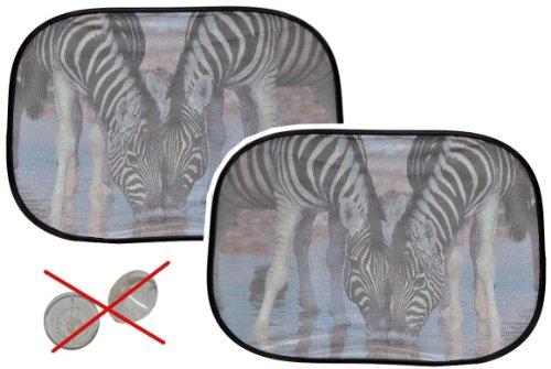2 tlg. Set Sonnenschutz Zebra - hällt OHNE Saugnapf - für Seitenscheibe Sonnenblende für Kinder Auto Baby Seitenfenster Tier Afrika