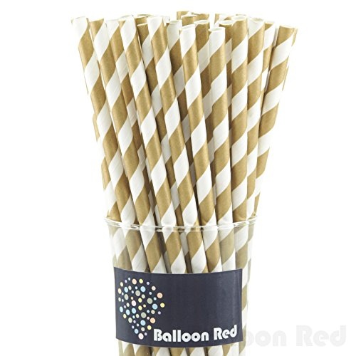Biodegradable Paper Drinking Straws (Premium Quality), Pack of 100, Striped - Gold